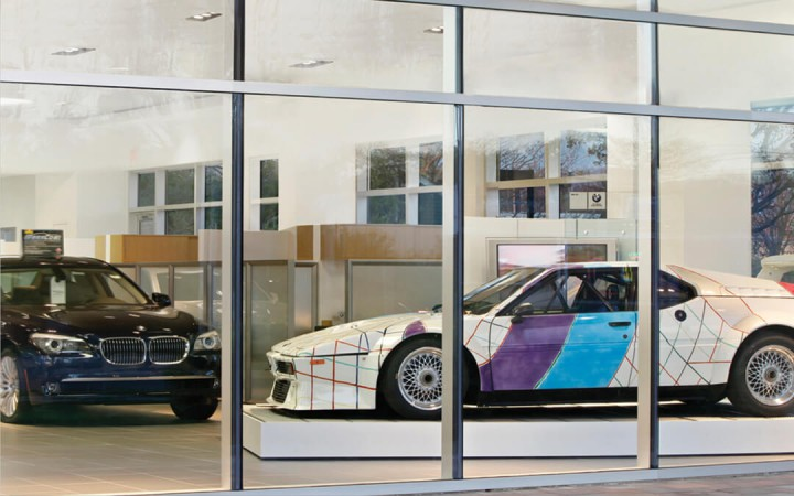 Sports cars in showroom