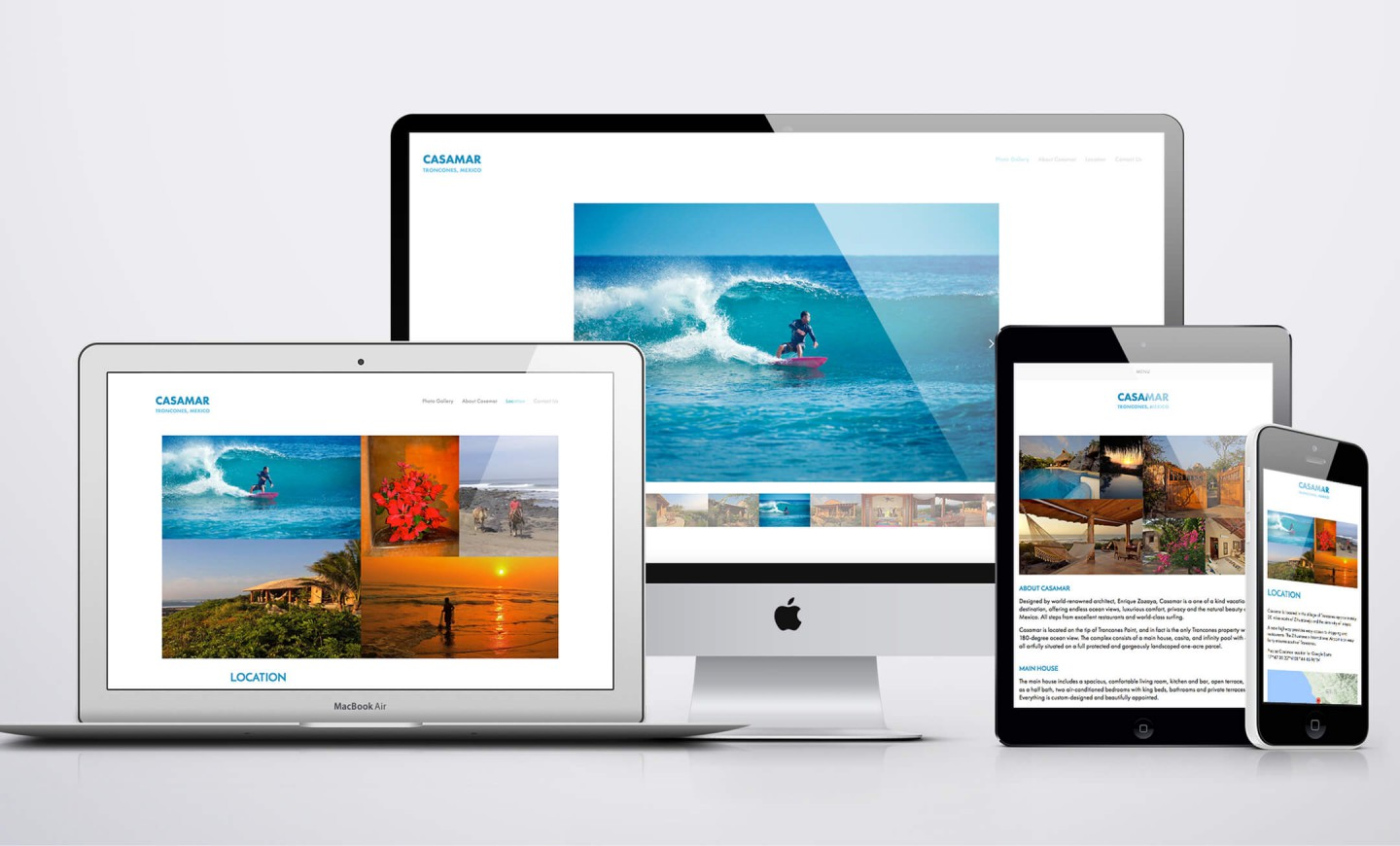 Responsive web design views of Casamar website
