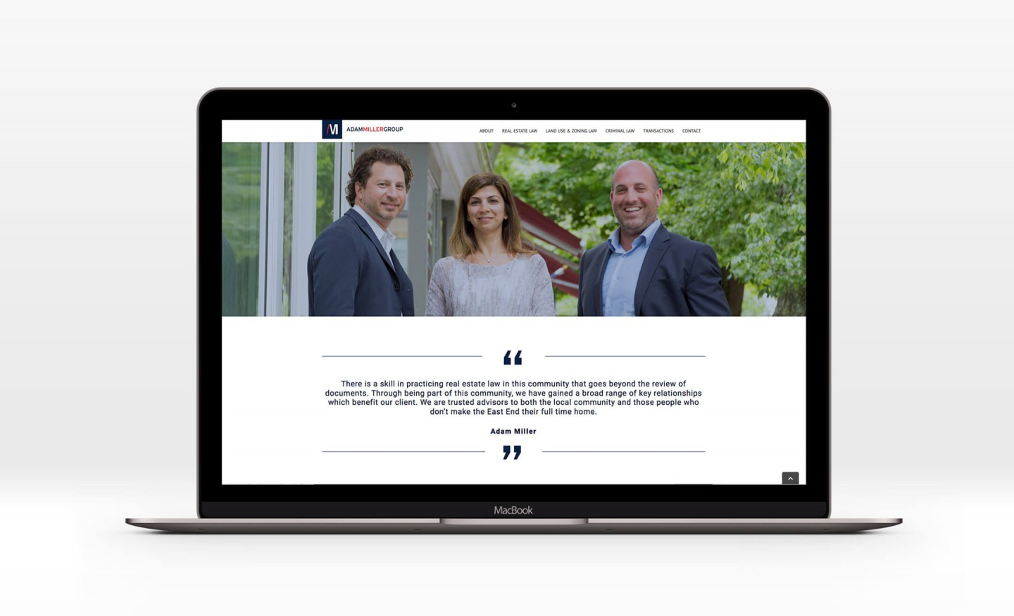 Adam Miller Group website design for laptop