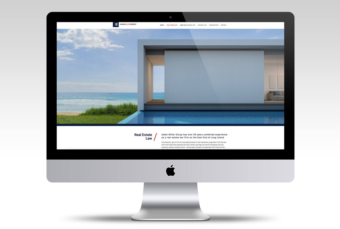 Adam Miller Group website design for desktop