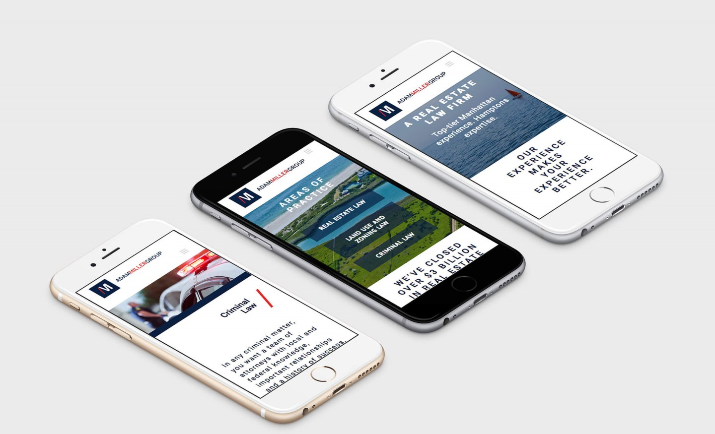 Responsive mobile website design views for Hamptons law firm Adam Miller Group