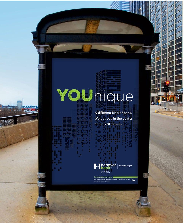 Hanover Bank bus stop ad